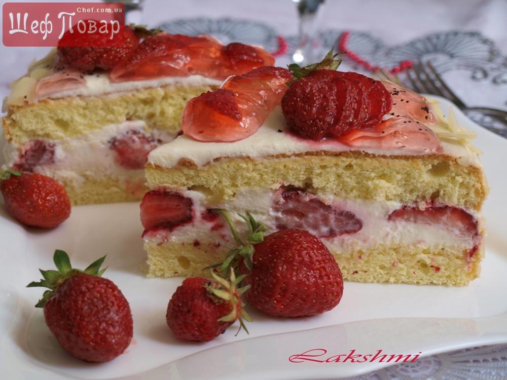 Сливочный пирог с земляникой новые фото